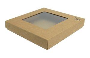 Pudełko na kartkę kwadratową kraft z okienkiem kwadratowym - GoatBox