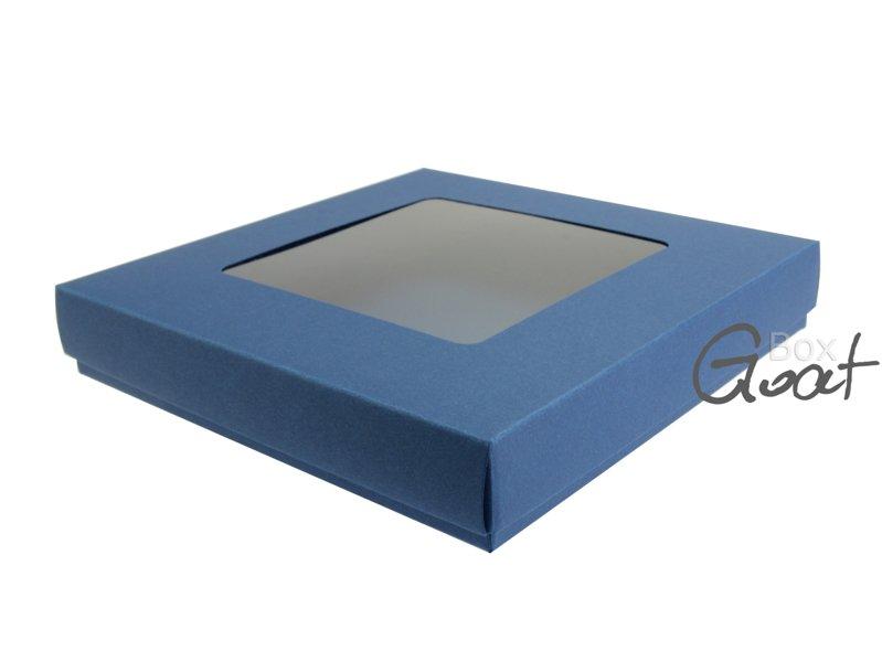 Pudełko na kartkę kwadratową z kwadratowym okienkiem - ciemny niebieski - GoatBox
